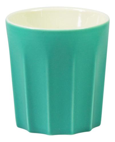 Mumuso Taza de Cerámica Colorida Sin Mango Verde