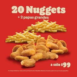 Botanero 1: 20 Nuggets + 2 Papas Grandes
