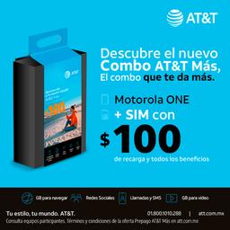 AT&T Combo Moto One Negro + Sim Con $100