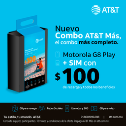 AT&T Combo Moto G8 Play Gris + Sim Con $100