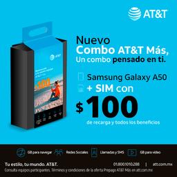 AT&T Combo Galaxy A50 Negro + Sim Con $100
