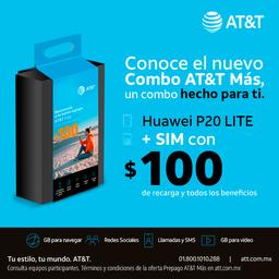 AT&T Combo Huawei P20 Lite Negro + Sim Con $100