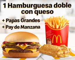 Hamburguesa con Queso doble + Pay de Manzana + Papas Grandes