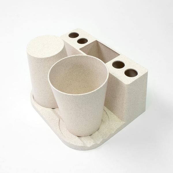 Miniso Set Porta Cepillo de Dientes Beige 17 x 14 x 10.9 cm