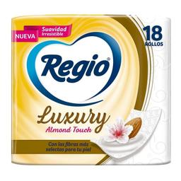 Papel Higiénico Regio Luxury Almond Touch 18 Rollos Con 205 Hoj.