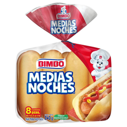 Pan Para Hot Dogs Bimbo Medias Noches 8 Pzas De 42.5 G C/U