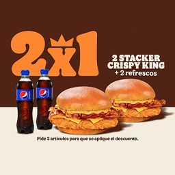 2 Stacker Crispy King + 2 Refrescos