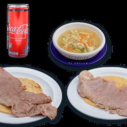 Combo Coca Cola Sin Azúcar/tacos+consomé