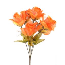 Bush Rosas Con Organza X6 34.5 cm Naranja