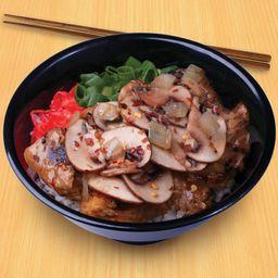 Teriyaki de Pollo con Champiñones y Salsa de Ajo