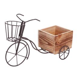 Triciclo Metal Con Canastilla Base Madera 21.5X33X13.5cm Natural