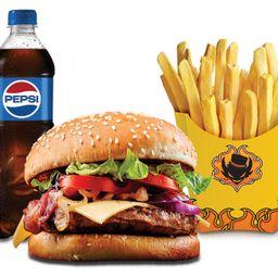 Combo cajun cheese burger
