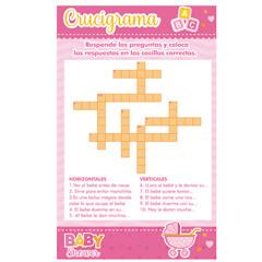 Juego Baby Shower Niña Crucigrama 21.5x13.2cm 10pz - Rosa - Art.