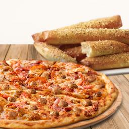 Pizza grande especialidad y 1 complemento