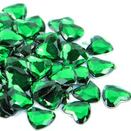 Piedra Acrílico Corazón 4 mm 100 U Esmeralda