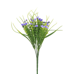 Ramo Fino de Plástico Con Flor 31.5 cm Morado