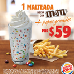 Malteada M&M 16 Oz + Papas Grandes