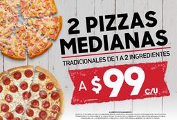 2 Pizzas Tradicionales Medianas de 1 a 2 ingredientes - $99 C/U