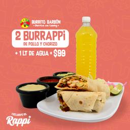 Súper Combo Burrappi: 2 Burritos + Agua de Litro