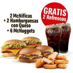 2 McNíficas+2 hamburguesas con Queso+McNuggets 6+2 Refr medianos