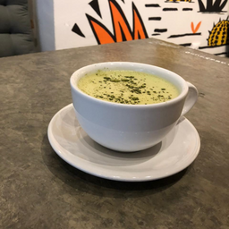 Salted maple matcha latte