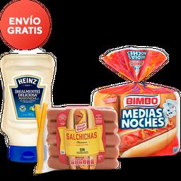 Rappicombo Mayonesa Heinz + Salchichas + Pan Hot Dog