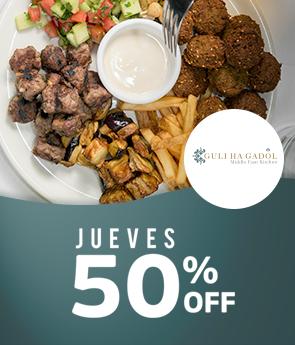 50% Off todo el menu